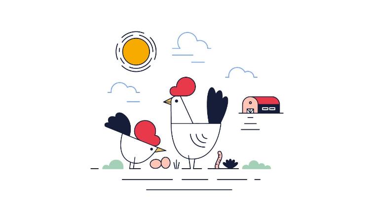 農場とニワトリ