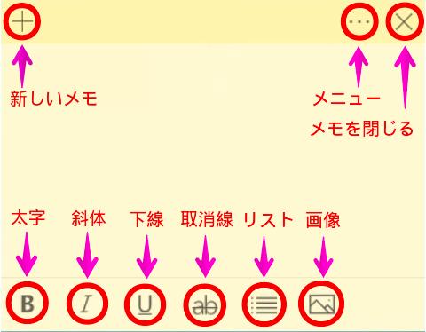 Sticky Notesの基本機能