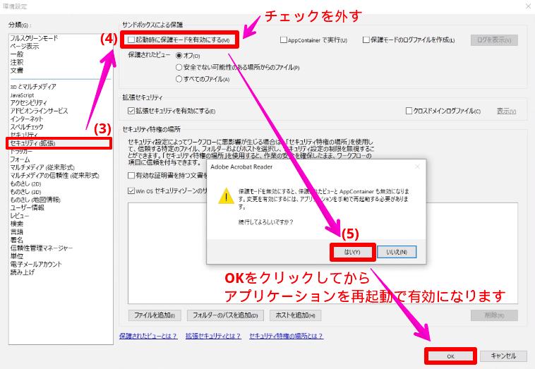 Adobe Acrobat Readerのサンドボックスを無効にする