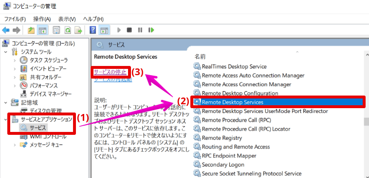 Remote Desktop Servicesのサービス停止
