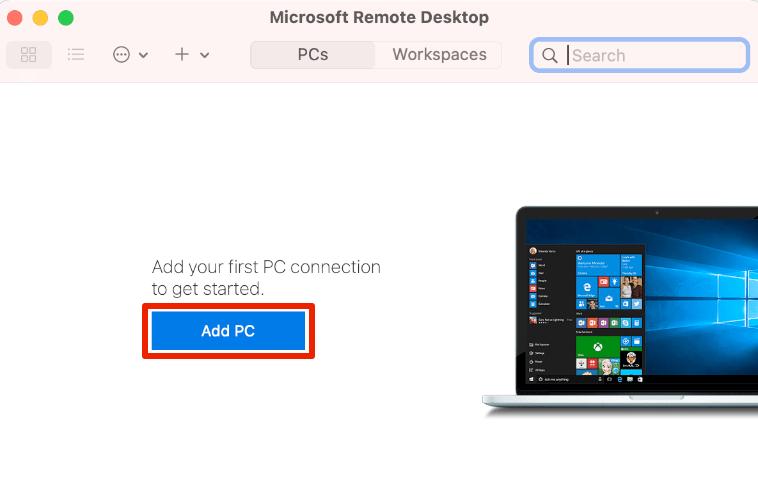Microsoft Remote Desktopで「Add PC」を選択