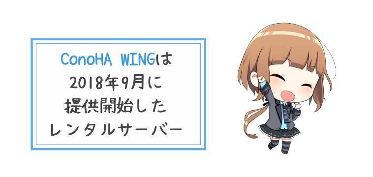 ConoHa WINGは2018年9月に提供開始したレンタルサーバー